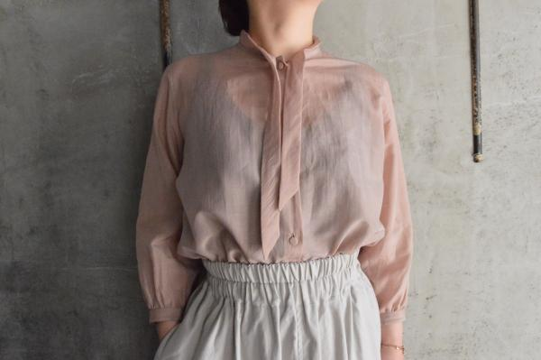 -M- Cotton Silk Bow Tie Blouse
