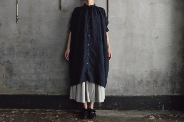 Honnete FOR 姉妹伴 Irish Linen H/S Gather Onepiece
