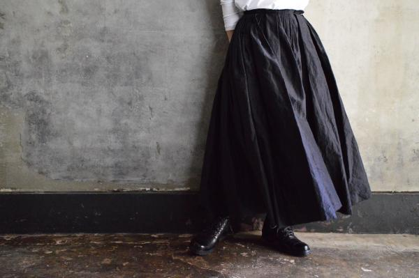 humoresque Silk Cotton Linen Random Tuck Skirt