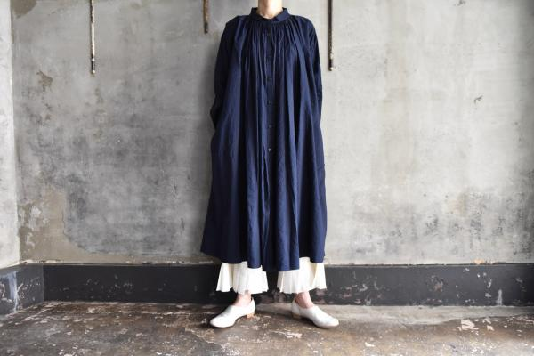 kaval Cotton Linen Twill Open Gather Onepiece