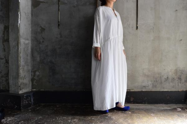 kaval Khadi Cotton Drawstring Semi Long Dress