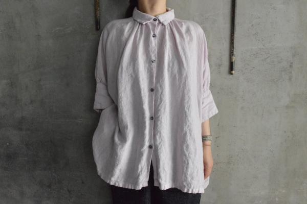 Honnete FOR poefu Irish Linen H/S Gather Blouse