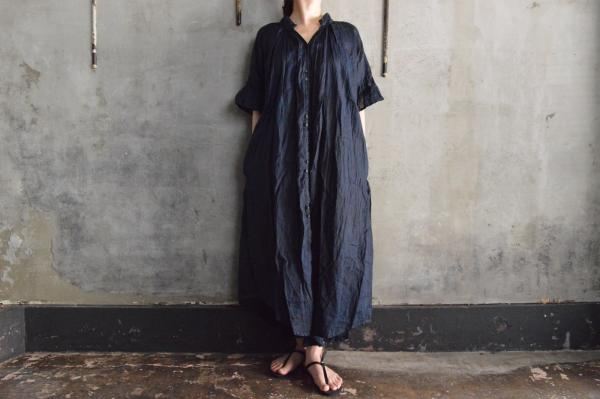 Tabrik Frill Sleeve Op Mud and Pure Indigo Dyed